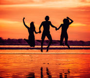 Silhouettes of happy young friends jumping on the Royalty Free Stock Photos