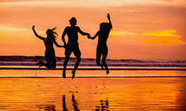 Silhouettes of happy young friends jumping on the Stock Image