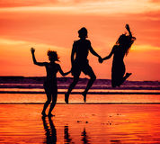 Silhouettes of happy young friends jumping on the Stock Photography