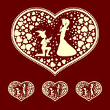 The silhouettes of the heart with the Prince and Princess, retro, set Royalty Free Stock Images