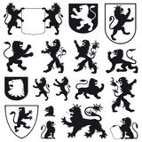 Silhouettes of heraldic lions Stock Photo