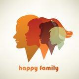 Silhouettes heureuses de profil de famille Photos libres de droits