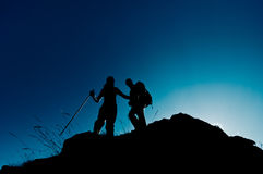 Silhouettes of hikers Royalty Free Stock Photo