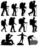 Silhouettes of hiking people stock illustration