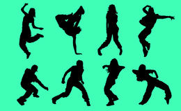 Silhouettes of Hip Hop dancers - Illustration. Silhouettes Hip Hop dancers on a green background Stock Photography