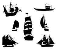 Silhouettes of historic sailing ships Stock Photo
