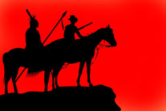 Silhouettes of a horse and riders Royalty Free Stock Photography
