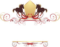 Silhouettes of horse on the stylish design. Silhouettes of hurrying horse on the stylish ornament. Element for design. Illustration Stock Images