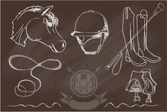 Silhouettes of horses and equipment player. Vector set of icons and symbols for sports games polo. Silhouettes of horses and equipment player - stock vector Royalty Free Stock Image