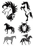 Silhouettes of horses. set 4 Royalty Free Stock Image