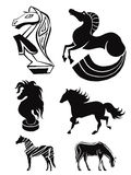 Silhouettes of horses. set 3 Royalty Free Stock Photography
