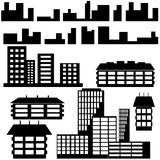 Silhouettes of houses and buildings icons. Vector Royalty Free Stock Photo