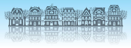 Silhouettes of houses Royalty Free Stock Photography