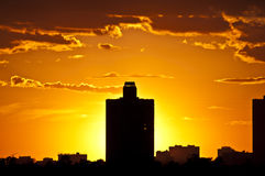 Silhouettes of houses in the Evening. Moscow Royalty Free Stock Images