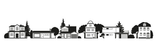 Silhouettes of houses in suburban street Royalty Free Stock Photos