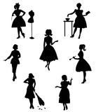 Silhouettes of housewives Royalty Free Stock Photography