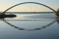 Silhouettes on Humber Bay Arch Bridge Royalty Free Stock Photo