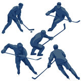 Silhouettes ice hockey players: defenders, forwards and goalkeeper. Stock Image