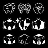 Silhouettes icon of teeth for dental clinic logo. Design teeth logo vector illustration on the black background Stock Images