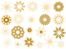 Silhouettes of illustrated snowflakes Royalty Free Stock Photo