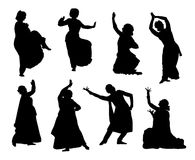 Silhouettes indian dancers. Black silhouettes of indian dancers. Vector stock illustration for design on white background Stock Photo