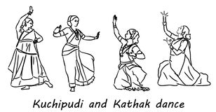 Silhouettes indian dancers Royalty Free Stock Image