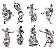 Silhouettes indian dancers in mehndi style vector illustration