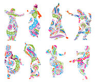 Silhouettes indian dancers in mehndi style royalty free illustration