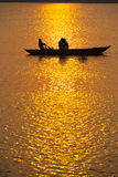 Rowboat Indian Tourists Sunset Ganges Varanasi Stock Photos
