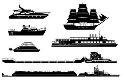 Silhouettes of industrial and passenger ships. Set of isolated industrial tugs and passenger boats and yachts. Black and white vector illustration. Water and vector illustration