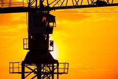 Silhouettes industrielles de grue de construction Photo libre de droits