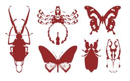 Silhouettes of insects Stock Image