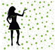 Silhouettes of irish woman. Royalty Free Stock Image