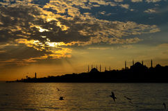 Silhouettes of Istanbul royalty free stock image