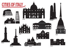 Silhouettes of Italian cities royalty free illustration