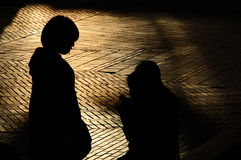Silhouettes of Japanese girls Royalty Free Stock Photo