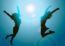 Silhouettes of jumping girls stock illustration