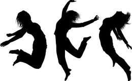 Silhouettes of jumping girls Royalty Free Stock Photo