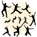 Silhouettes of jumping people. Some silhouettes of jumping people vector illustration