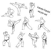 Silhouettes of karate fighters. Vector set of karate fighter silhouettes. Stock handwritten illustration for design Stock Photos