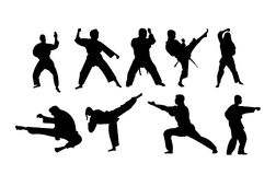 Silhouettes of karate stances and punches. Nine silhouettes of persons of different age, male and female, doing various karate stances and punches Royalty Free Stock Photos