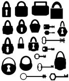 Silhouettes keys and locks Stock Photography
