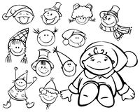 Silhouettes of kid faces for christmas design. Kids are  my creative drawing and you can use it for your design, made in , Adobe Illustrator 8 EPS file Stock Photography