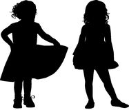 Silhouettes of kids Stock Image