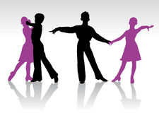 Silhouettes of kids dancing ballroom dance Royalty Free Stock Image