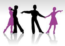 Silhouettes of kids dancing ballroom dance. Detailed silhouettes of young ballroom dancers stock illustration