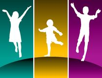 Silhouettes of kids jumping. Different colored panels of silhouettes of excited children jumping Stock Images