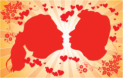 Silhouettes kissing men and women, vector. Illustration Stock Photography