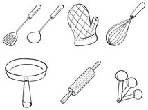 Silhouettes of kitchen utensils Stock Photo
