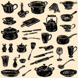 Silhouettes of the kitchenware. Vector doodles of the various kitchenware stock image